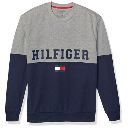 Tommy Hilfiger Mens Hilfiger Color Block Crew Neck Long Sleeve T-Shirt