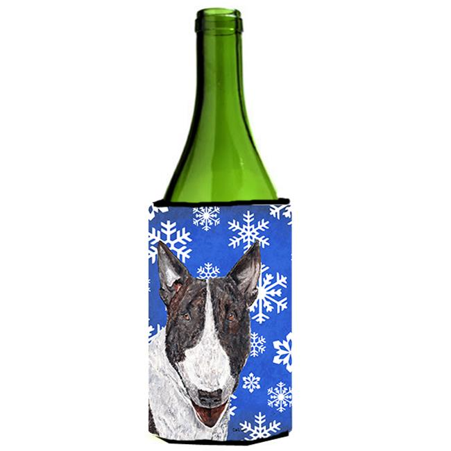 Carolines Treasures SC9603LITERK Bull Terrier Blue Snowflake Winter Wine bottle sleeve Hugger - 24 oz. - image 1 de 1