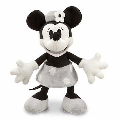 """disney parks 7"""" minnie mouse black and gray plush new with tag"""