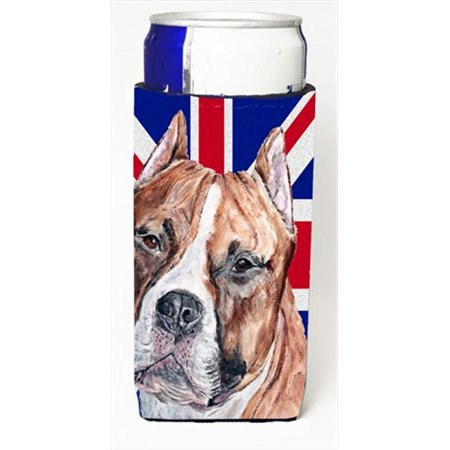 Staffordshire Bull Terrier Staffie With English Union Jack British Flag Michelob Ultra bottle sleeves For Slim Cans - 12 Oz.
