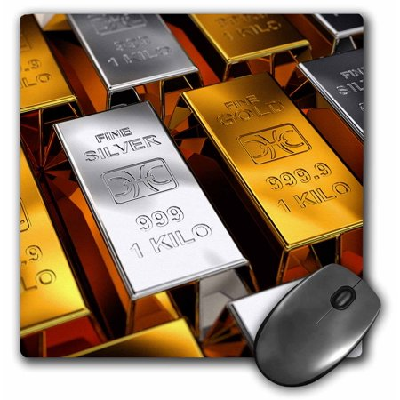 Abundance Gift - 3dRose Gold and silver bars in a bank money wealth rich abundance, Mouse Pad, 8 by 8 inches