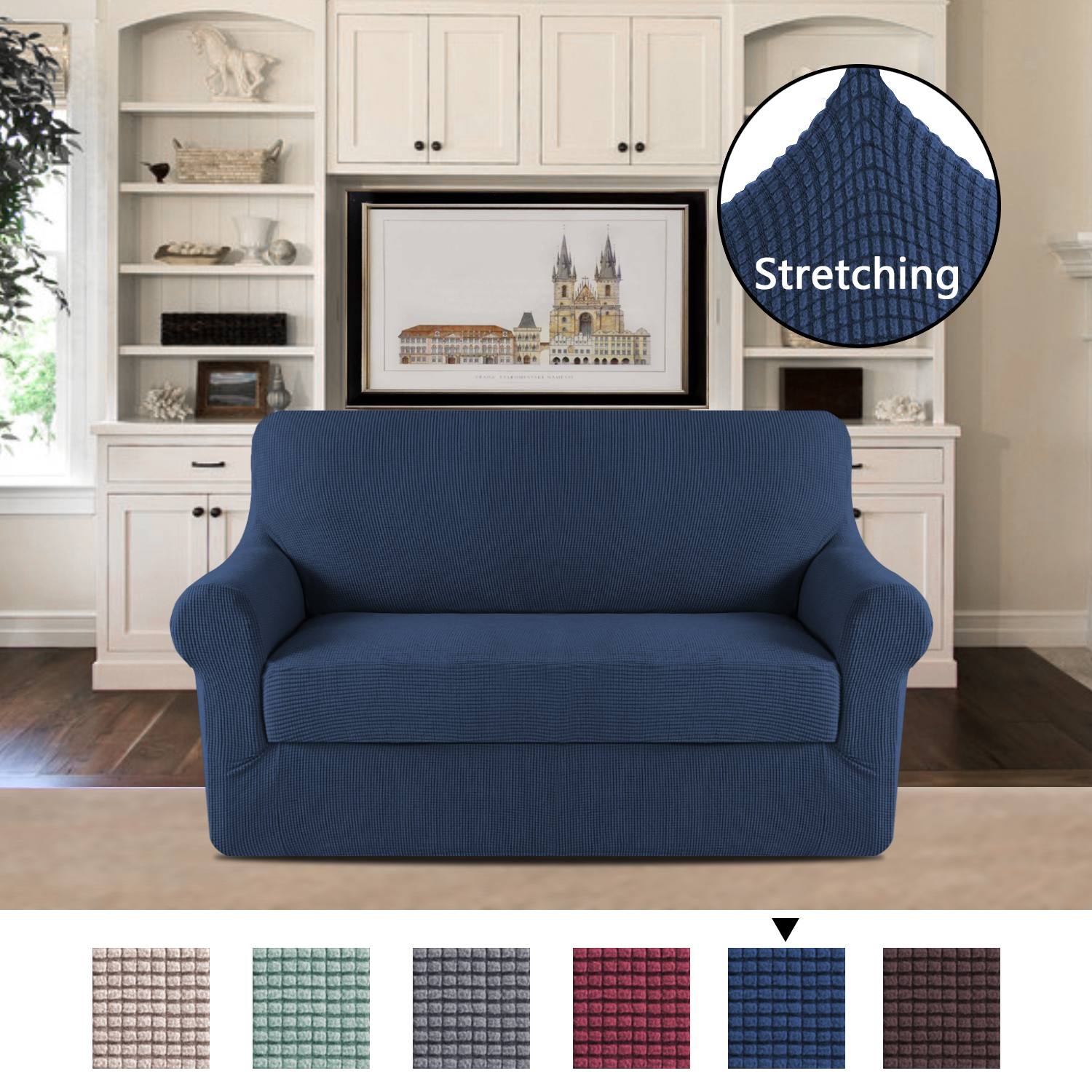 Polyester Elastic Sofa Slipcovers for Living Room Spandex Stretch Fabric Super Soft 2 Pieces, Stretching Skid Resistance Furniture Protector-Loveseat-Navy