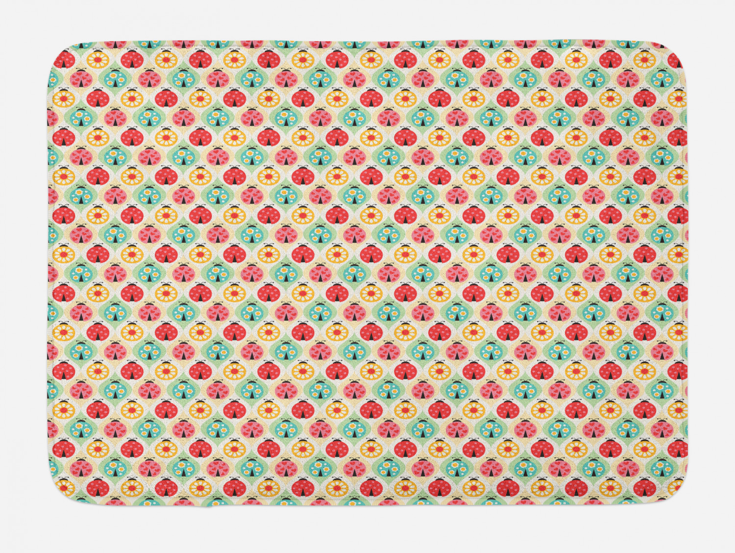 Ladybug Bath Mat Cartoon Ladybug Insect Pattern Ornamented With Floral Petal Motifs Hearts And Dots Plush Bathroom Decor Mat With Non Slip Backing 29 5 X 17 5 Multicolor By Ambesonne Walmart Com