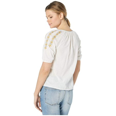 Lucky Brand Embroidered Peasant Top Marshmallow