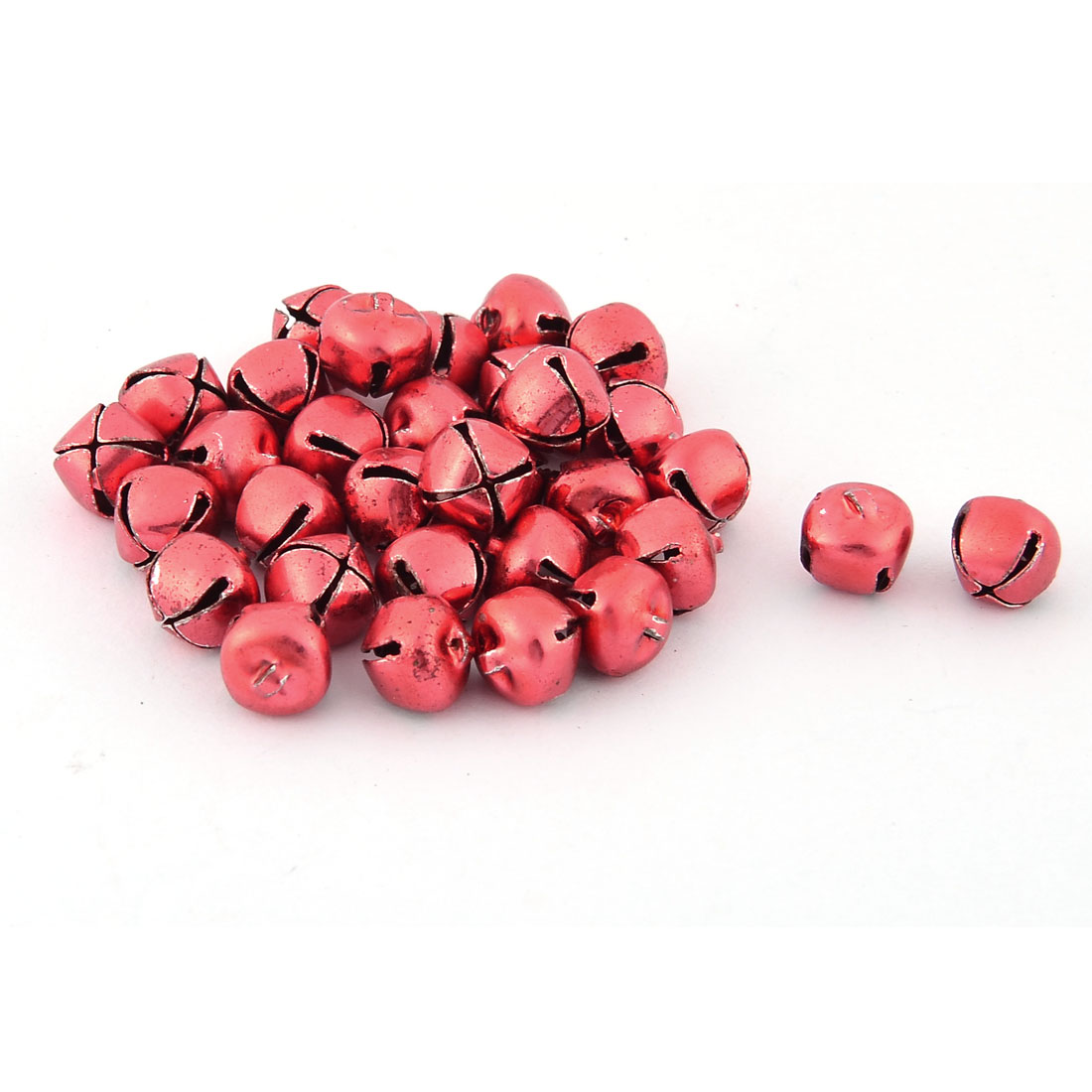 Tree Decor Metal Round Shape Christmas Bell Hanging Decoration Red 30 Pcs