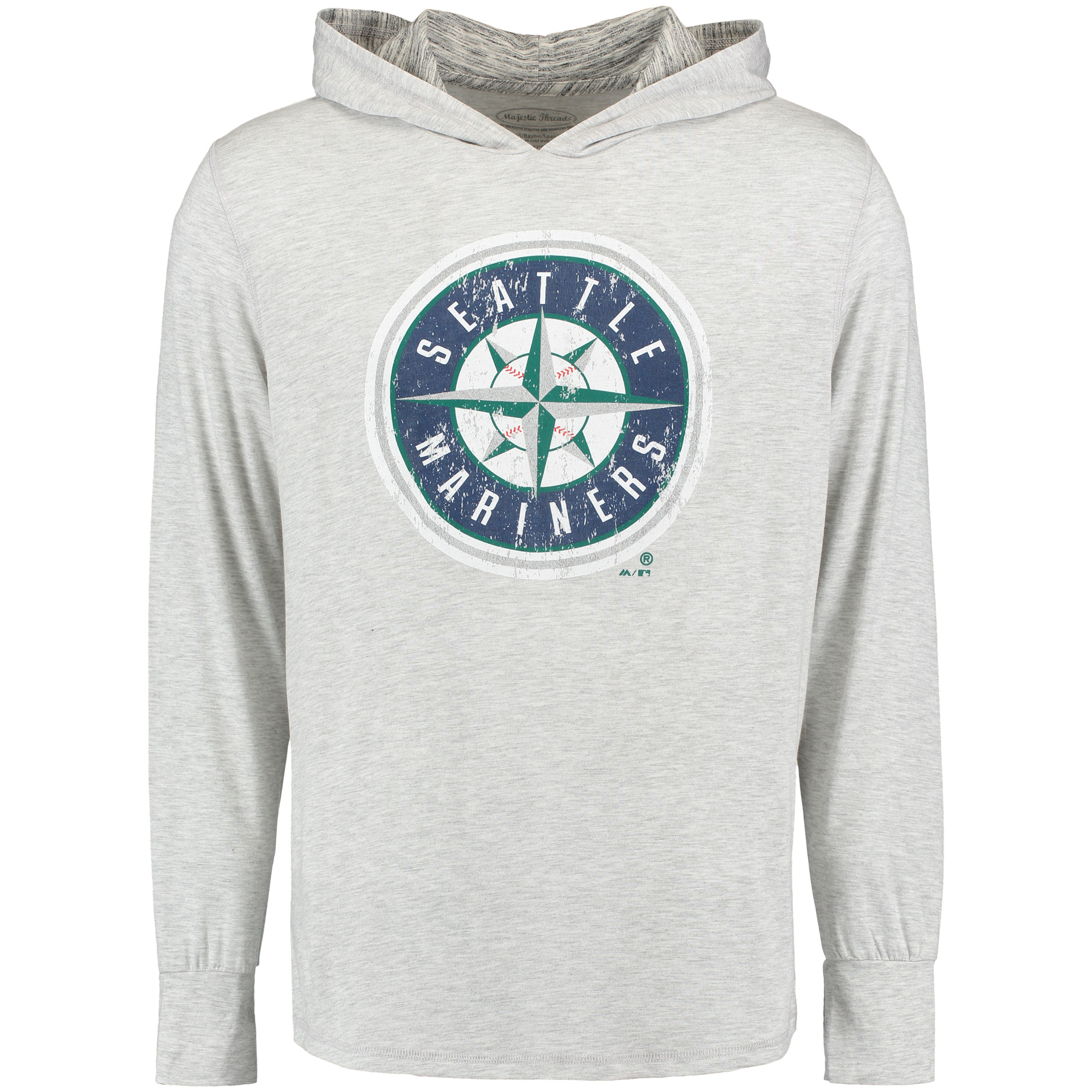 Seattle Mariners Majestic Threads Pullover T-Shirt with Marble Hood - Gray