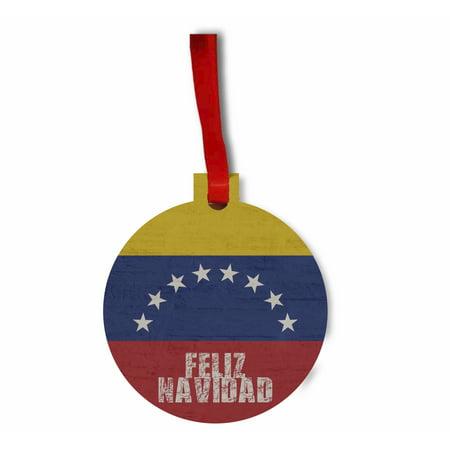 Venezuela Flag - Feliz Navidad Hanging Hardboard Round Shaped Tree Ornament - (Flat) - Holiday - Christmas - Tm - Made in the USA ()