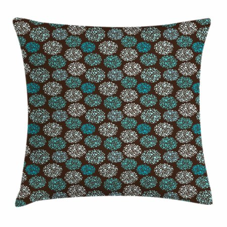 Brown and Blue Throw Pillow Cushion Cover, Dots Forming Oval Shapes Retro Style Abstract Geometric Vintage, Decorative Square Accent Pillow Case, 16 X 16 Inches, Brown Turquoise White, by Ambesonne ()