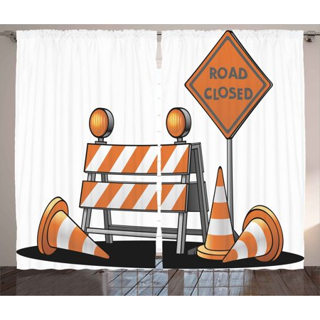 Logo Decor Curtains 2 Panels Set, Road Closed Sign Traffic Warning Symbol with Blocker Stop Illustration, Window Drapes for Living Room Bedroom, 108W X 90L Inches, Orange Grey Black, by Ambesonne ()