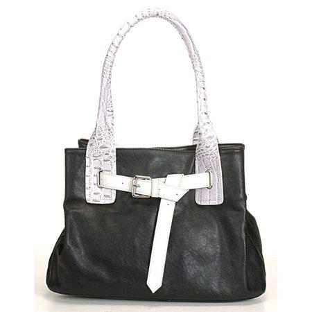 Aryana Junior Womens Black White Shoulder Strap Belt Chic Fashion Handbag