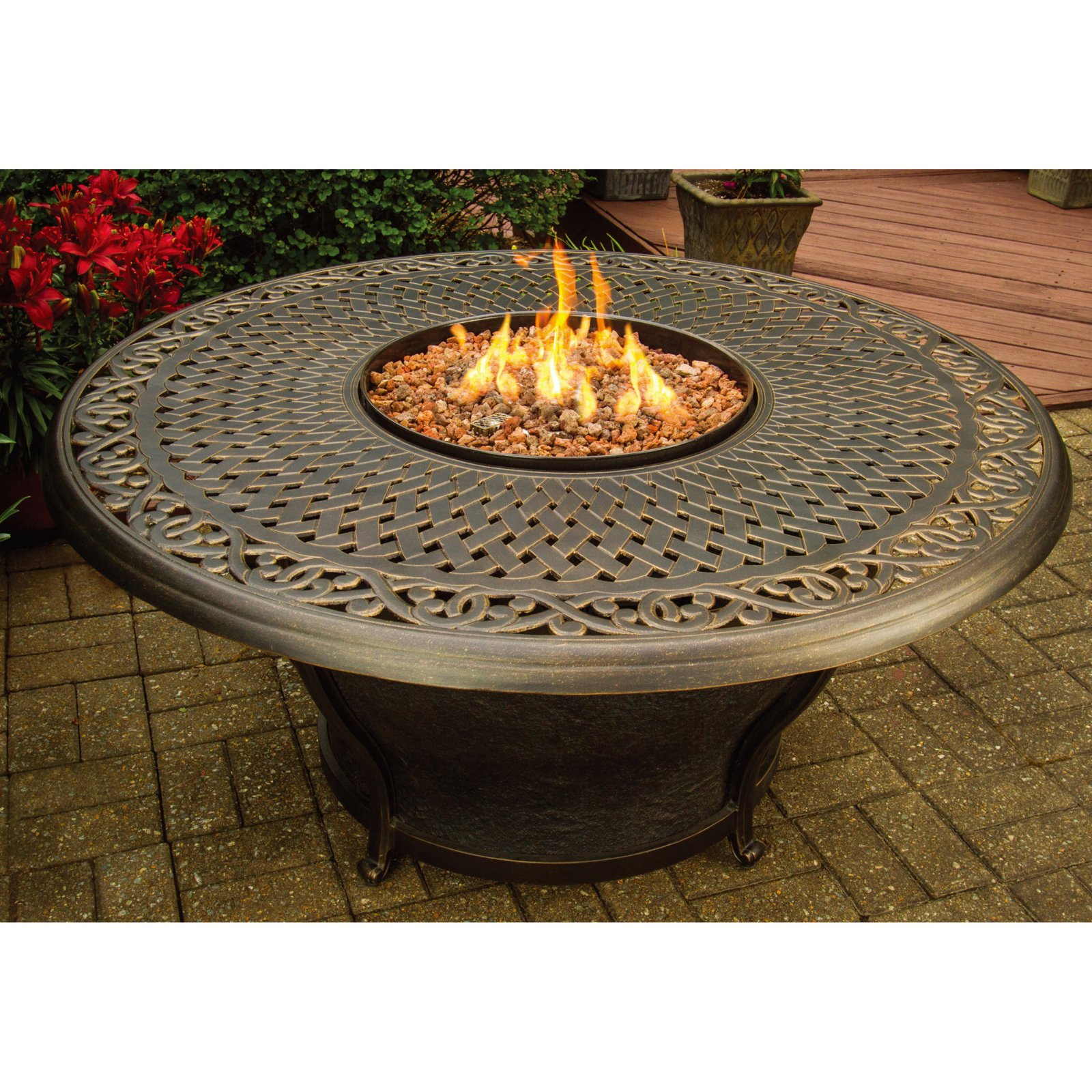 Oakland Living Charleston 48 in. Round Gas Firepit Table by Oakland Living Corp