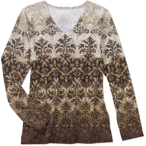 White Stag Womens Printed Embellished V-Neck Top