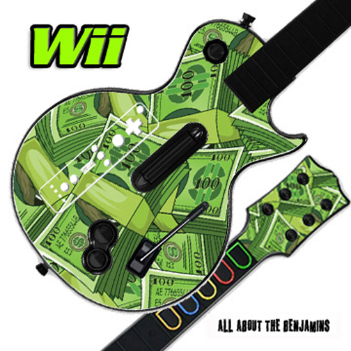 Mightyskins Skin Decal Cover for GUITAR HERO 3 III Nintendo Wii Les Paul - All About The Benjamins