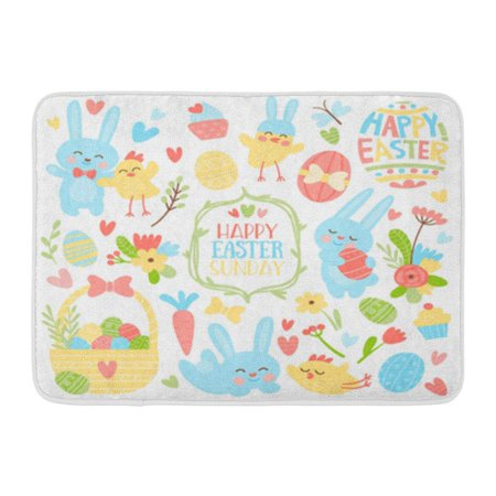 LADDKE Bright Colored for Easter Flowers Heart Eggs Chickens Rabbits and Lyrics Doormat Floor Rug Bath Mat 30x18 inch