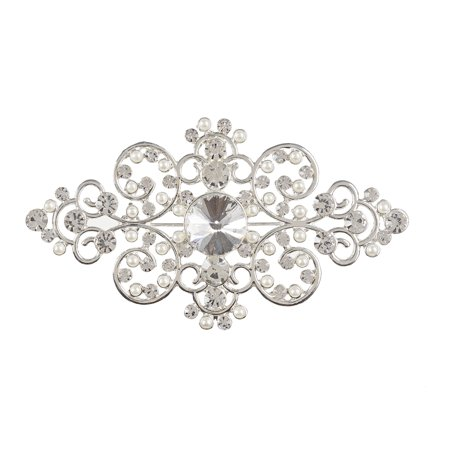 Dt Brooch Silver Metal Pearls Rhinestones 1Pc