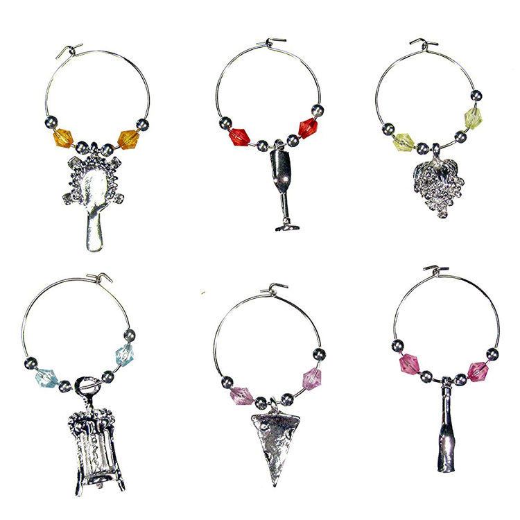 set of 6 RiverView Enterprise MAPLE LEAF WINE GLASS CHARMS tag//markers