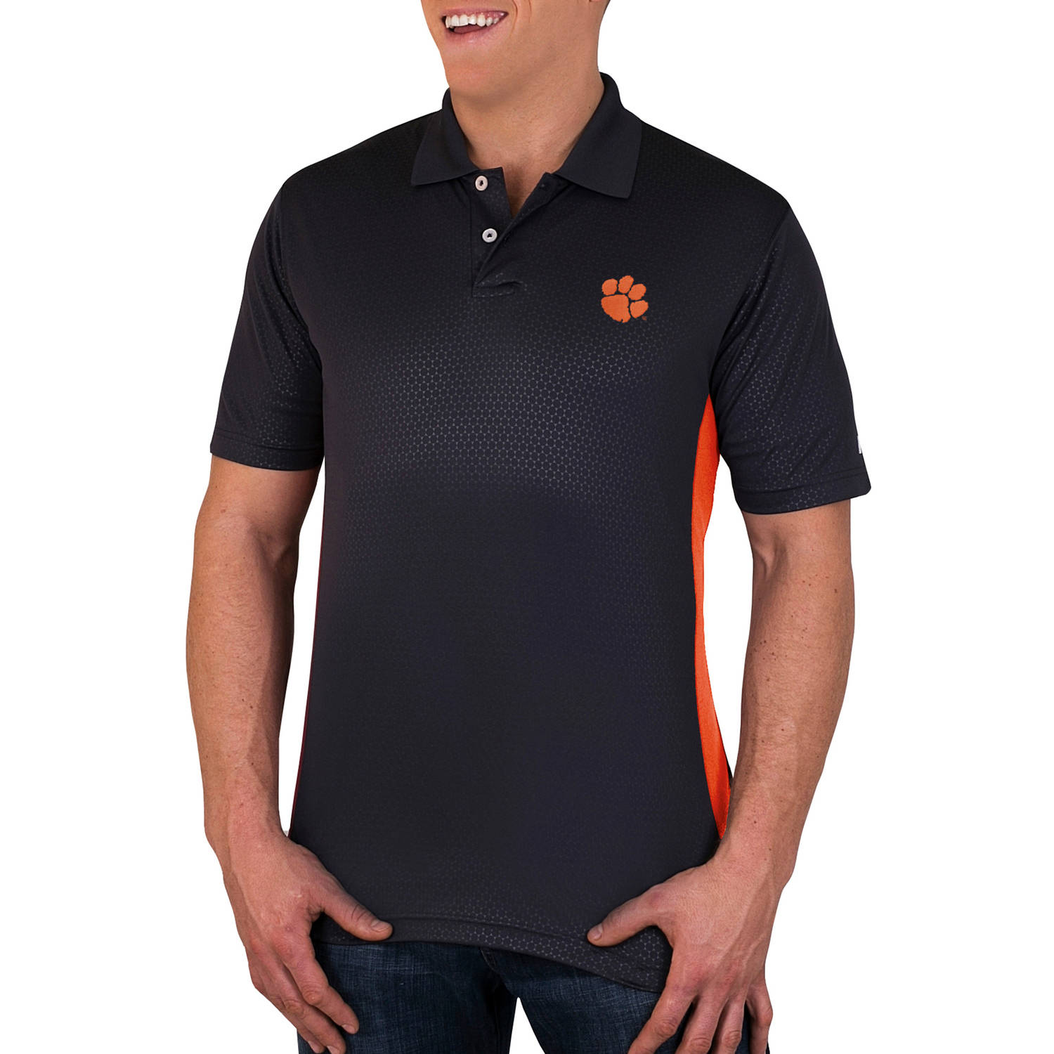 NCAA Clemson Tigers Men's Synthetic Embossed-Pattern Polo