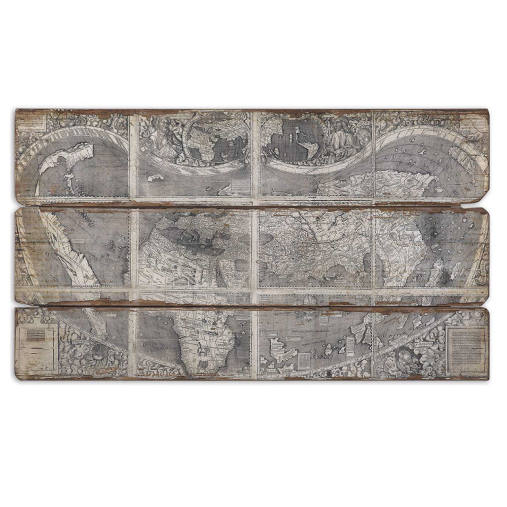 Uttermost Map of the City Frameless Oil Reproduction on Wooden Backboard