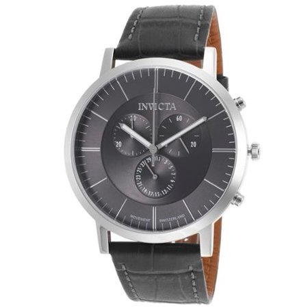 Men's Slim Chronograph Grey Genuine Italian Leather Charcoal Dial Movement: - Charcoal Grey Dial