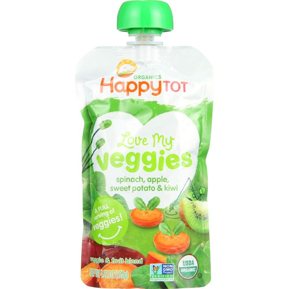 Happy Tot Spinach, Apple, Sweet Potato & Kiwi Love My Veggies, 4.22 Oz (Pack Of 16)