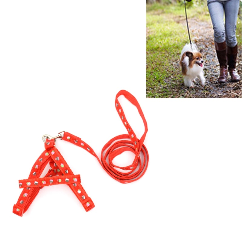 Dog Collar Leash Harness, Nylon Printed Pet Cat Adjustable Harness Lead Leash Collar Belt, Small, Adjustable Range:25-36cm, Length:120cm - Red