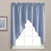 "DOROTHY 54"" X 36"" WINDOW CURTAIN CAFE KITCHEN TIER PAIR Blue"