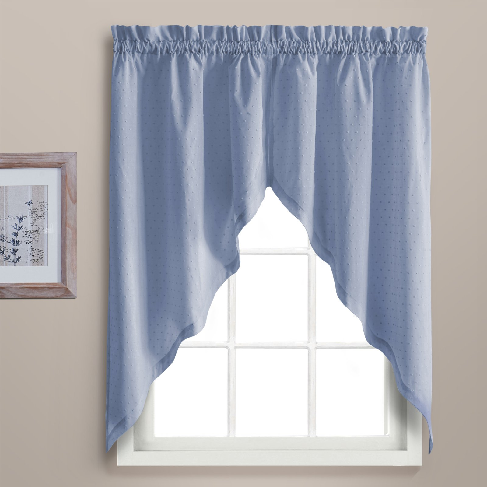 "DOROTHY 54"" X 24"" WINDOW CURTAIN CAFE KITCHEN TIER PAIR Blue"