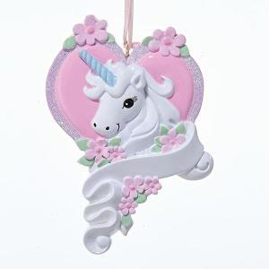 Christmas Pretty Unicorn Girls Ornament for Personalization