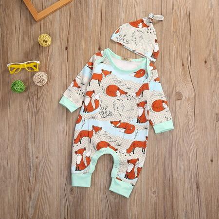 2Pcs Newborn Baby Kids Boy Girl Bodysuit Romper Jumpsuit Toddler Fox Outfits Set