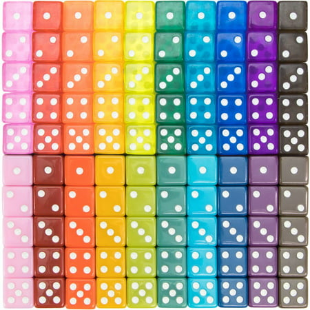 Brybelly 100-pack Translucent & Solid 6-sided Game Dice, 20 Vintage Colors, 16mm Dice