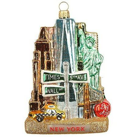 New York City Landscape Polish Glass Christmas Tree Ornament United States (O And X New York Glasses)