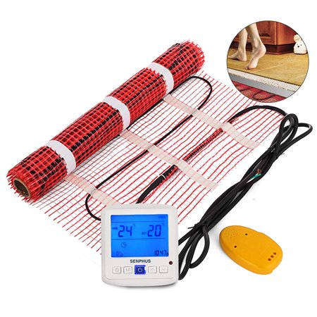 BestEquip 90 Sqft 120V Electric Radiant Floor Heating Mat with Alarmer and Programmable Floor Sensing Thermostat Self-Adhesive Mesh Underfloor Heat Warming Systems Mats