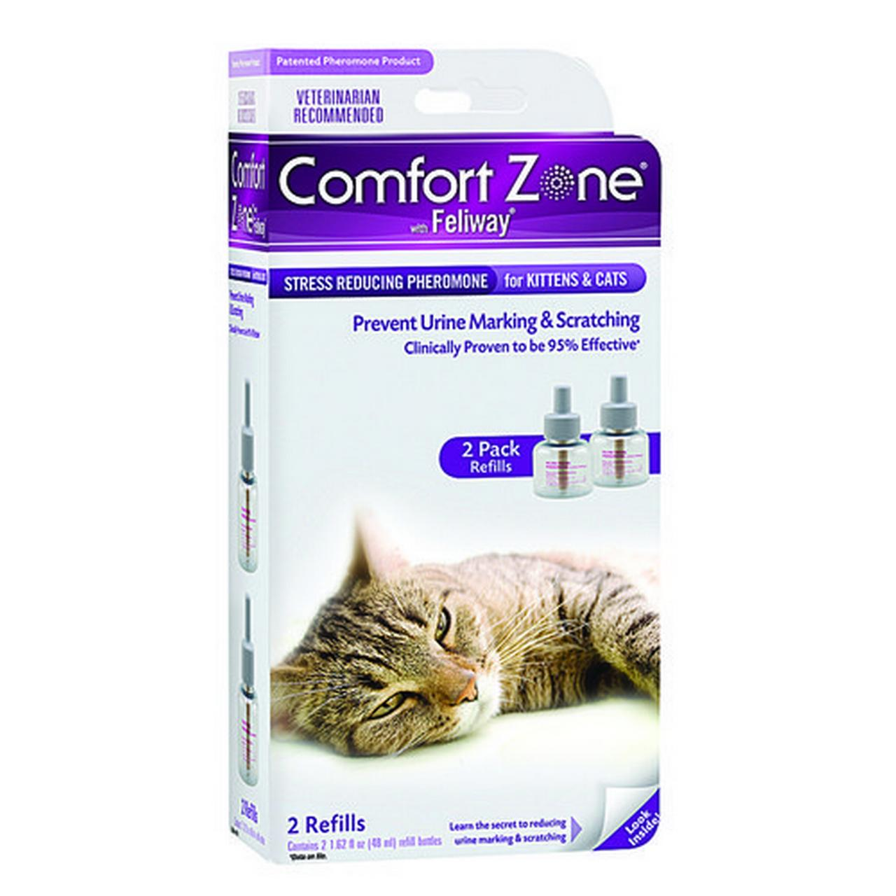 Comfort Zone with Feliway Stress Reducing Pheromone Refill for Kittens & Cats 2 Pack - (2 x 48 mL/1.62 oz bottles)