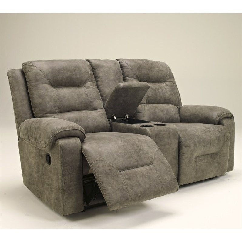 ashley furniture rotation double reclining loveseat in smoke