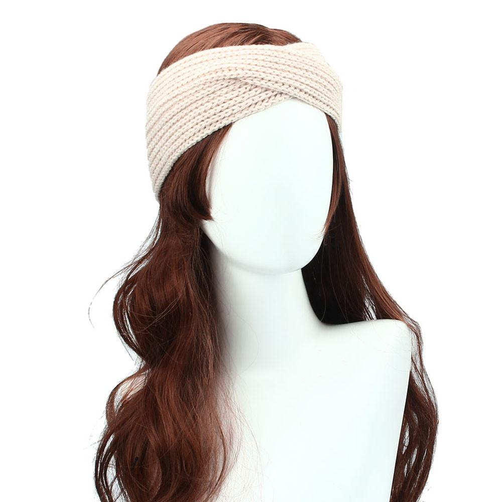 Outtop Winter Women Bohemia Weaving Cross Headband Handmade Hairband BG