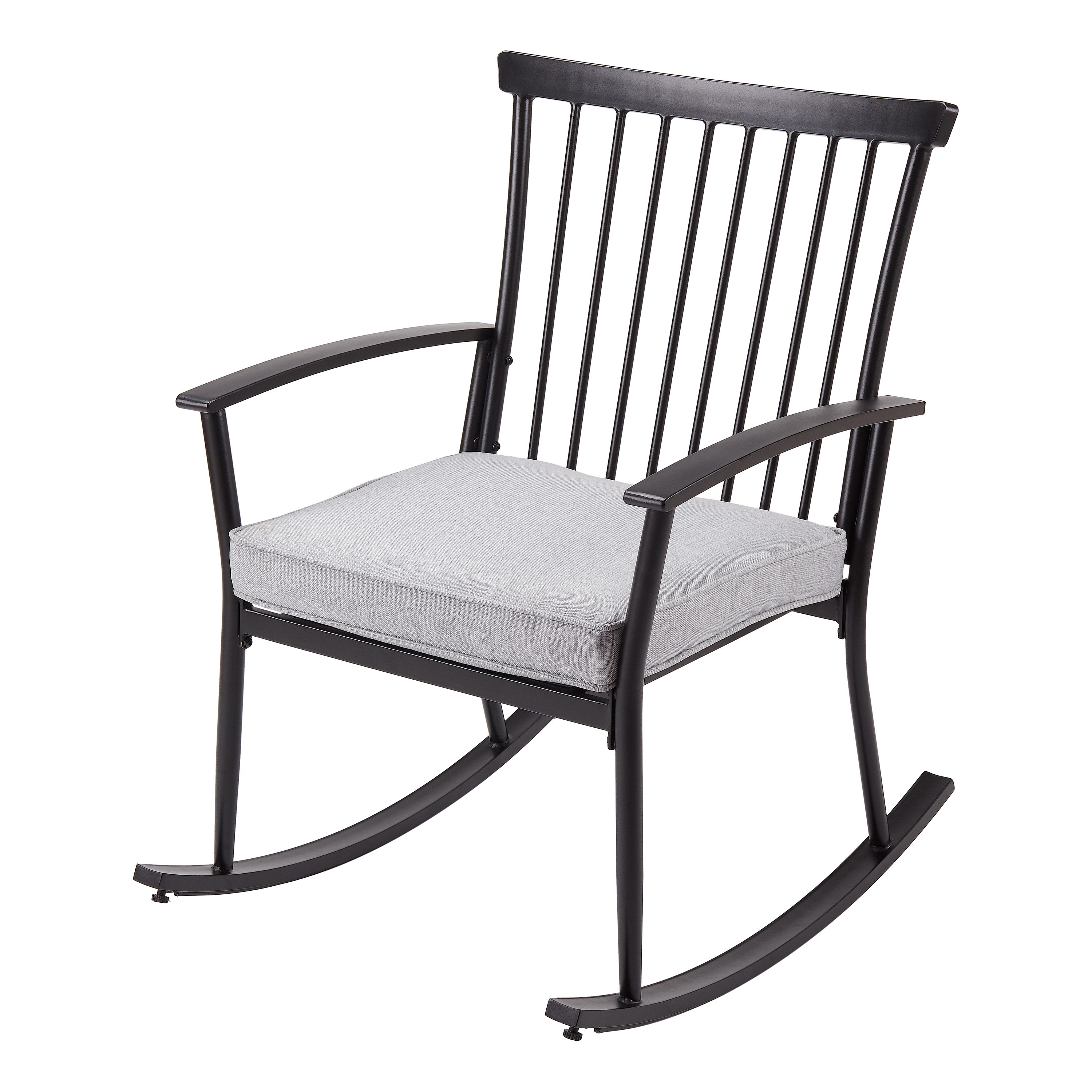 Better Homes & Gardens Shaker Patio Rocking Chair in Black with Gray Cushion