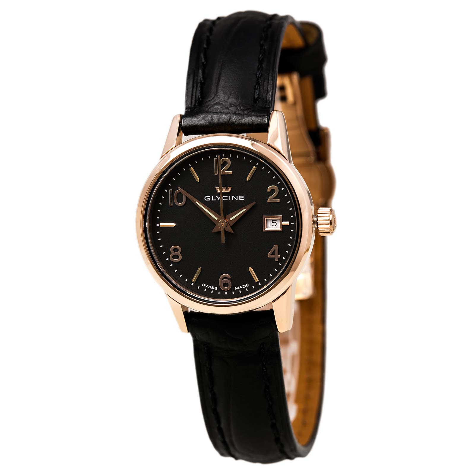 Glycine 3909-29 Women's Classic Black Dial Rose Gold Steel Black Leather Strap Watch