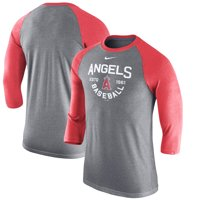 Men's Nike Heathered Charcoal Los Angeles Angels Tri-Blend 3/4-Sleeve Raglan T-Shirt
