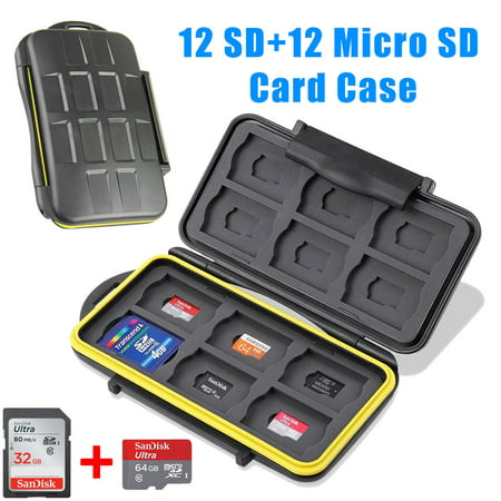 TSV Tough Water Shock Resistant Protector Memory Card Carrying Case Holder 24 Slots for SD SDHC SDXC and Micro SD TF with Storage Bag & Carabiner
