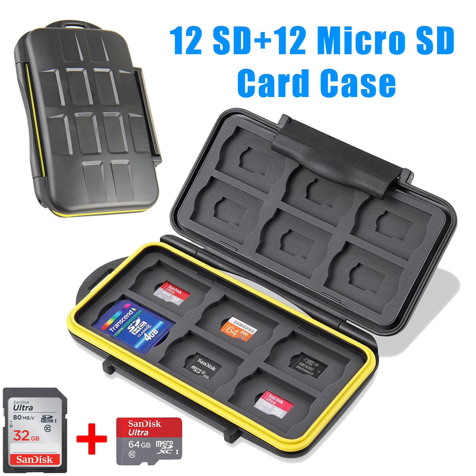 TSV Water-Resistant 24 Slots Memory Card Carrying Cases Professional Anti-shock Holder Storage SD SDHC SDXC and Micro SD TF Cards Protector Cover With Carabiner & Card Reader