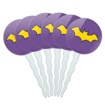 Batman Cupcake Picks (Batman Batgirl Logo Cupcake Picks Toppers Decoration Set of)