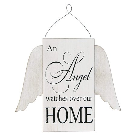 "Adams&Co 10"" x 12"" x 1"" wooden sign, (AN ANGEL WATCHES OVER OUR HOME)"