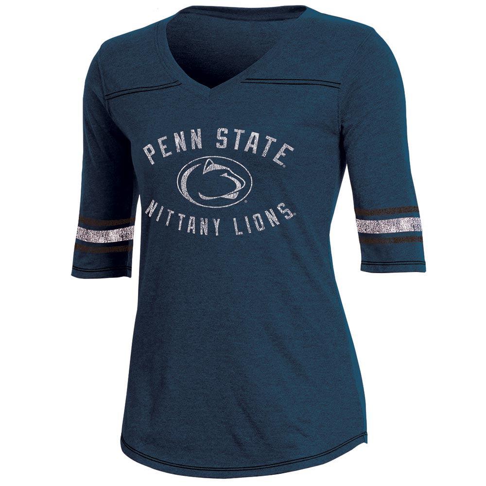 Women's Russell Navy Penn State Nittany Lions Fan Half-Sleeve V-Neck T-Shirt