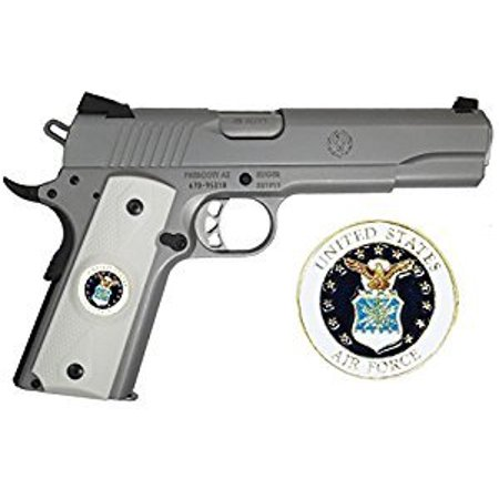 Ivory Polymer Grips (Garrison Grip 1911 Colt Full Size and Clones With US AIR FORCE Medallion Set In Light Ivory Polymer Grips)