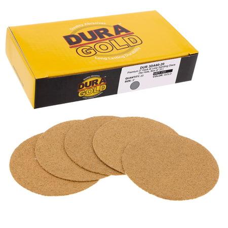 "60 Grit 3"" Gold Hook & Loop Sanding Discs DA Sanders - Box of 20 Sandpaper"