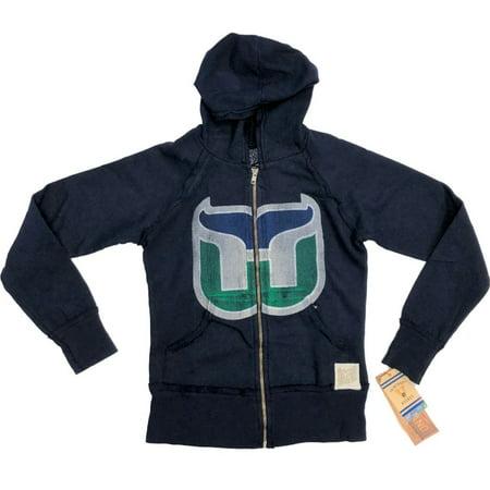 - Hartford Whalers Retro Brand WOMEN Navy Full Zip Up Hooded Vintage Jacket (XS)