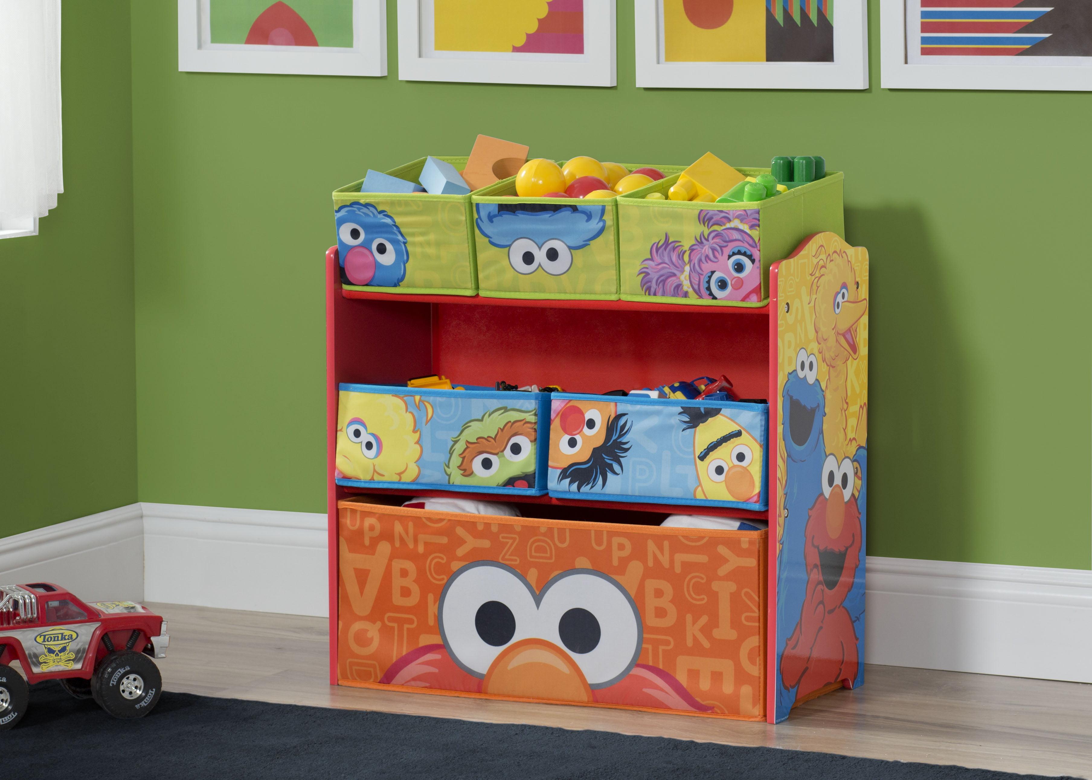 Sesame Street Toy Organizer 9 Bins Bedroom Basement Fun Room Furniture Elmo
