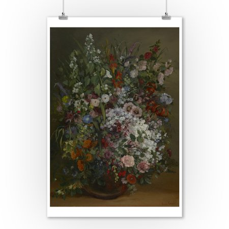 Bouquet of Flowers in a Vase - Masterpiece Classic - Artist: Gustave Courbet c. 1862 (9x12 Art Print, Wall Decor Travel (Gorham Classic Bouquet)