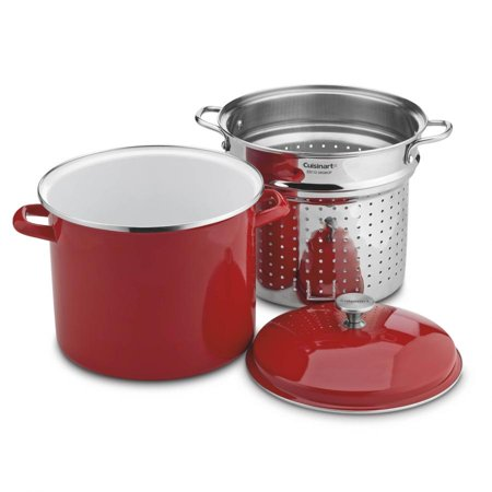 - Cuisinart 12 Quart Stockpot With Steamer Insert And Cover, Red