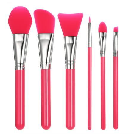 6pcs Silicone Makeup Brush Set Facial Mask Foundation Brushes Cosmetic Eyeshadow Eyebrow Brush Kit With Plastic Handle Rose